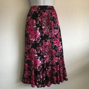 Elastic Waist Flower Print Skirt
